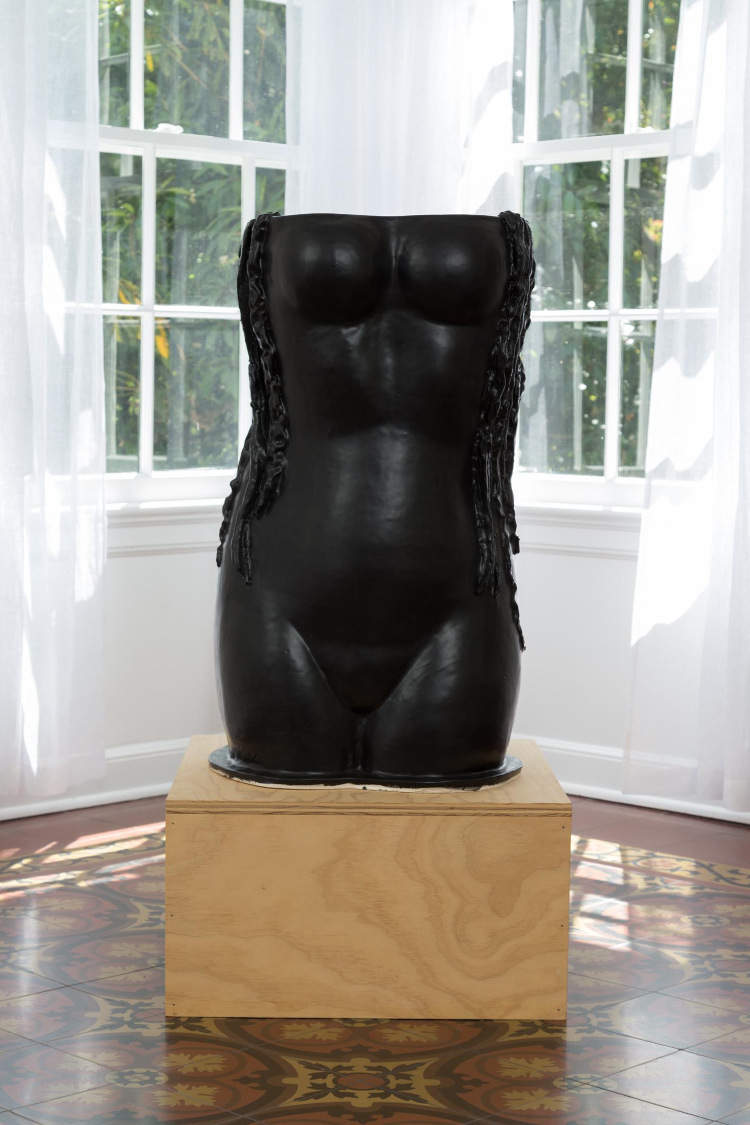 Amy Bessone,  S1.8 Siren, 2016 . Ceramic sculpture. (Sculpture: 32 in. x 20 in. x 19 in.) (Pedestal: 12 in. x 22 in. 22 in.)