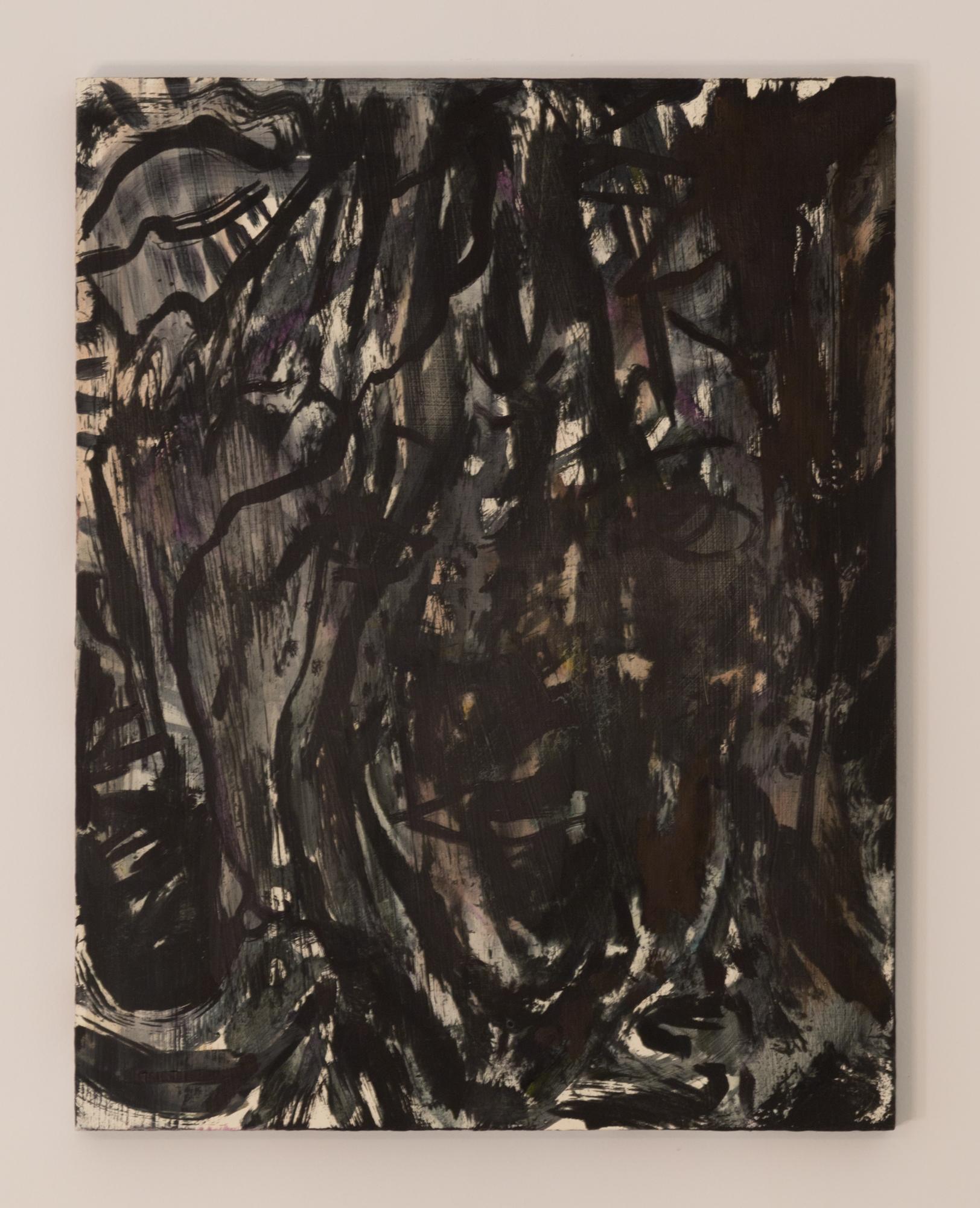 Hayley Barker,  BAT TIME II , 2016. Oil on panel. 18 in. x 14 in.