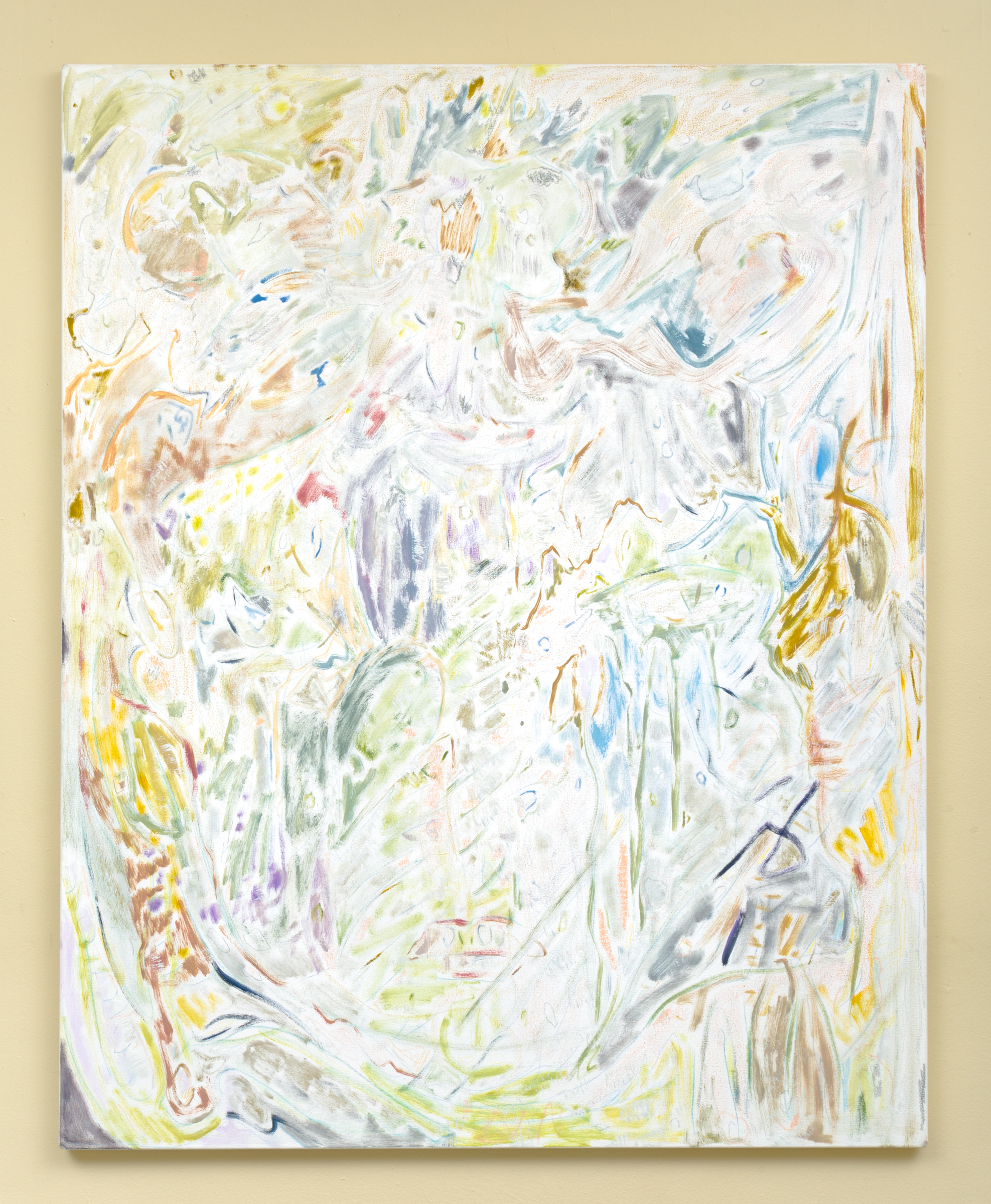 SWAN TIME (grasses) , 2017. Oil, pastels, and colored pencil on canvas. 60.5 x 48.5 in.