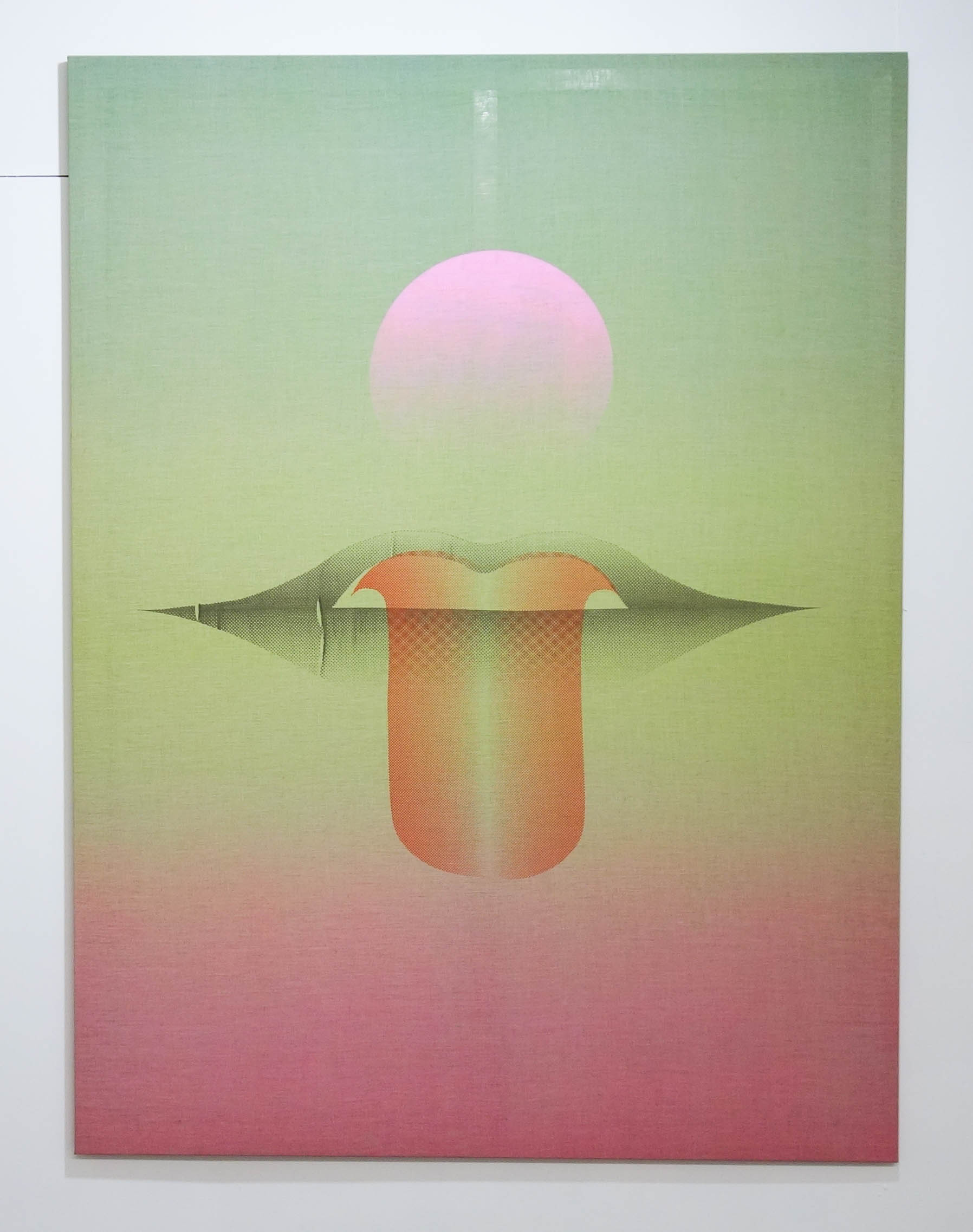 "Adam Rabinowitz, ""Untitled (tongue)"", 2018. 77.5 in. x 52.25 in. Liquid acrylic & silkscreen ink on linen."