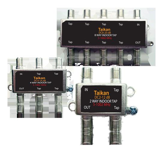 2 4 & 8 port drop taps 1002 MHz Bandwidth horizontal housing broadband cable premise Taikan SCTE