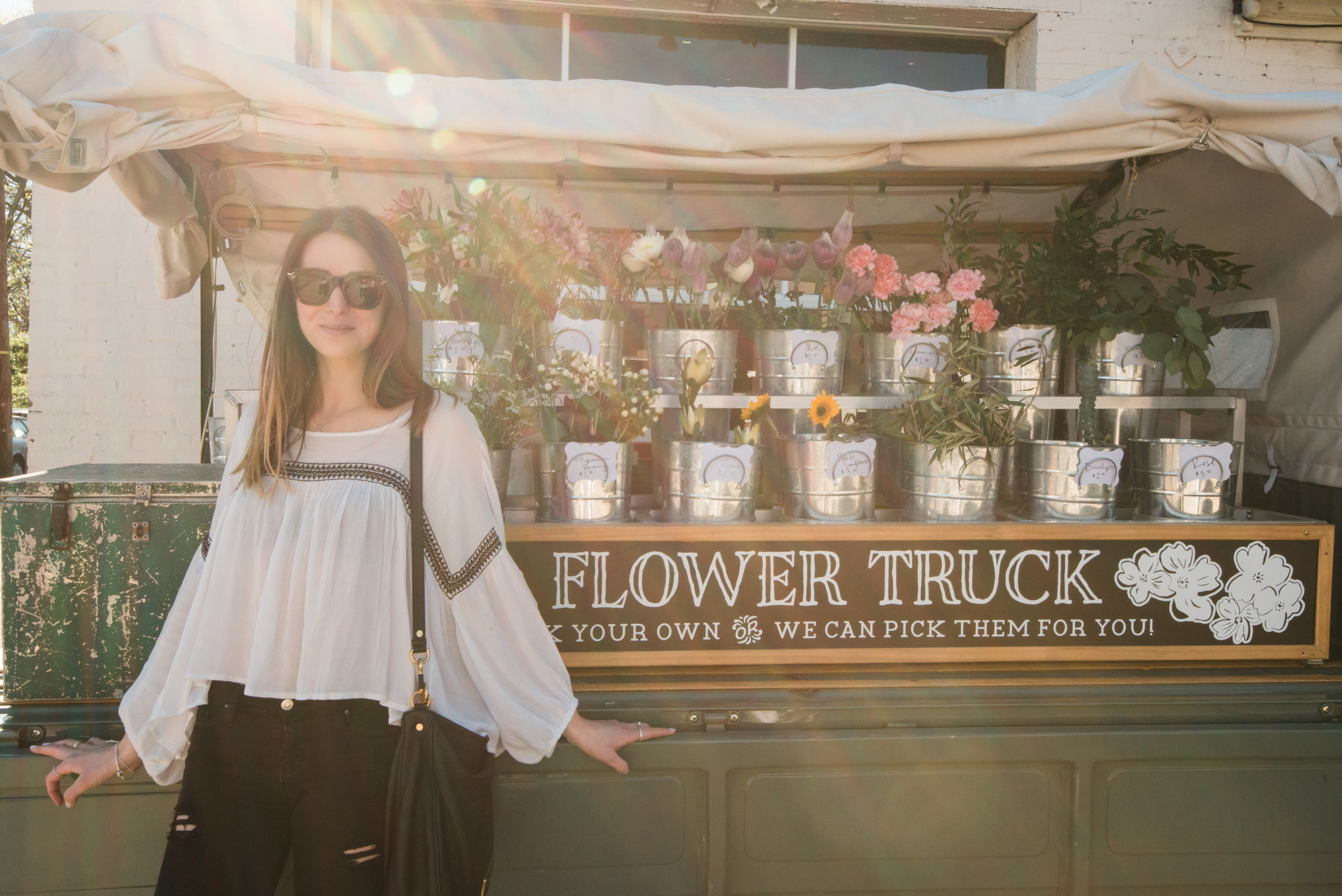 You can always find a food or a flower truck parked on 12 Ave South and we totally took advantage of the afternoon sunshine and hippie chic flair.