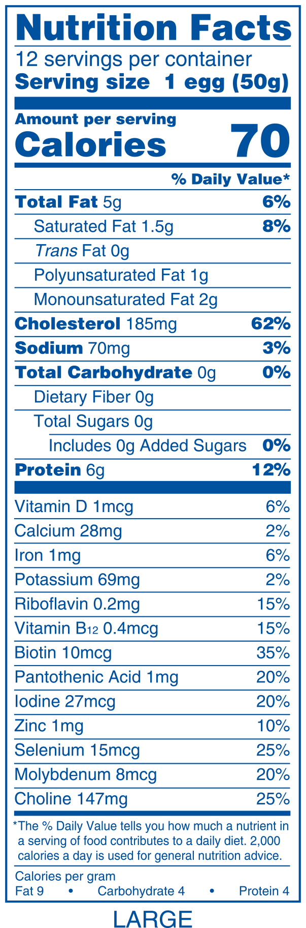 The EXTENDED version of the nutrition panel for 1 large egg.