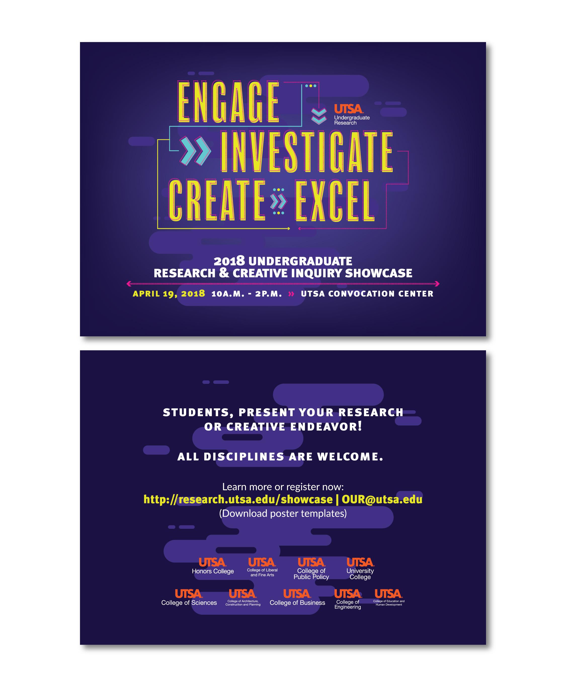 2018 Undergraduate Research & Creative Inquiry Showcase Postcard