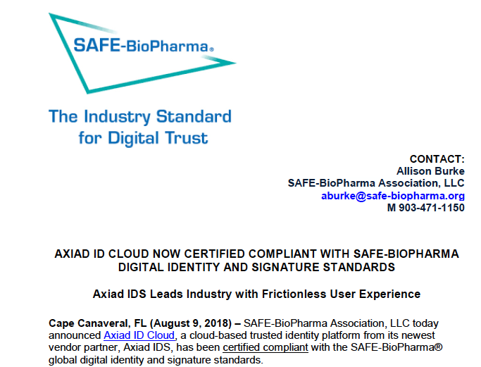 SAFE-BioPharma Press Release