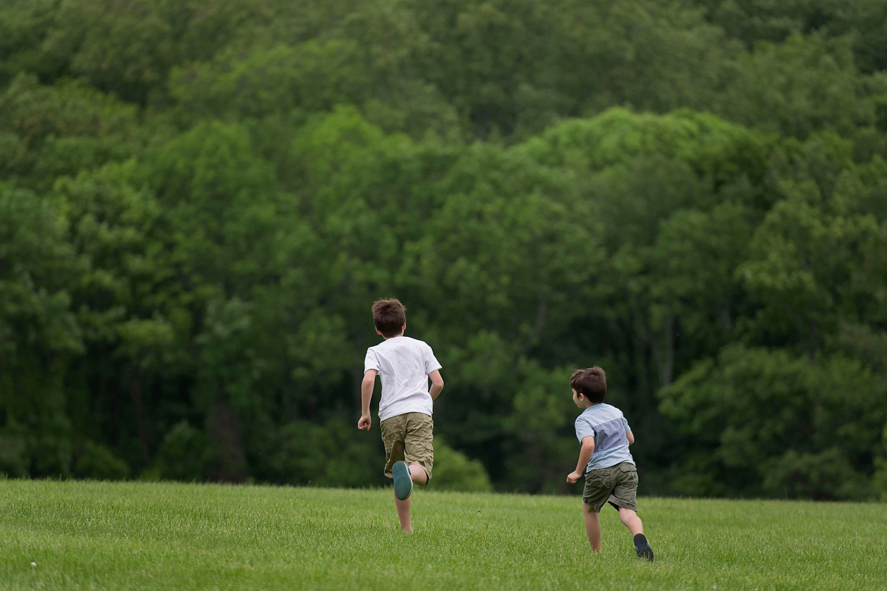 two boys run away from camera into field