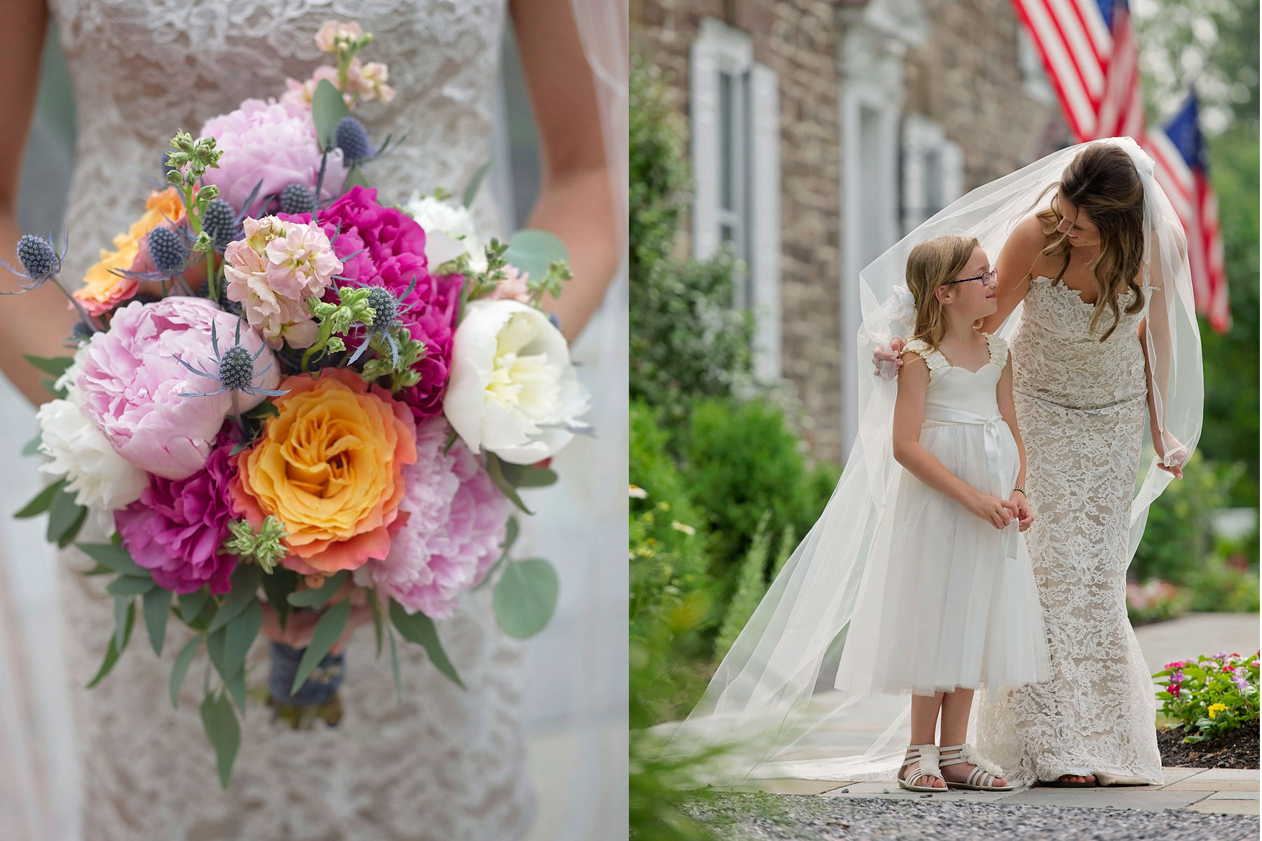 bride looks at flower girl while posing for a photo, bridal bouquet also pictured
