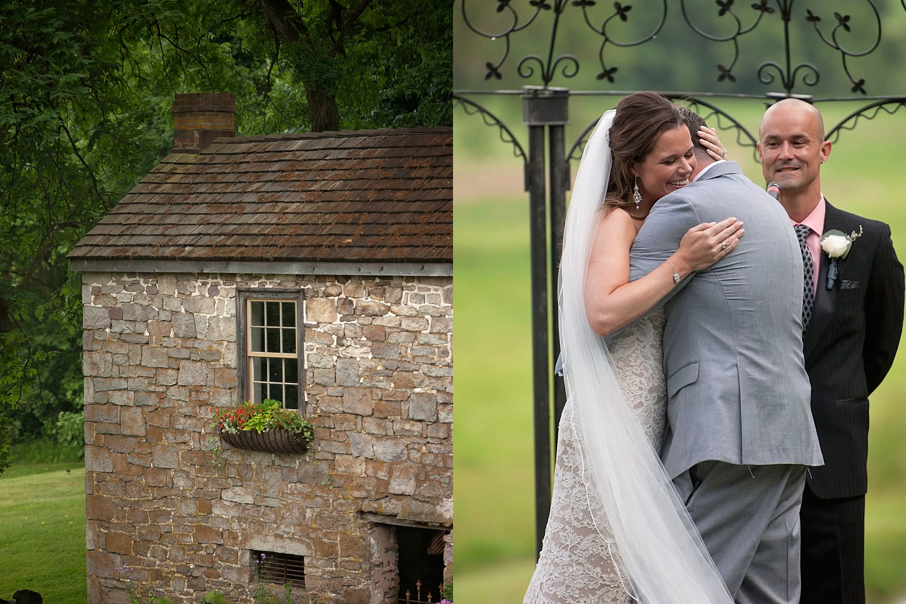Stone springhouse alongside bride and groom sharing an embrace at the end of the wedding ceremony