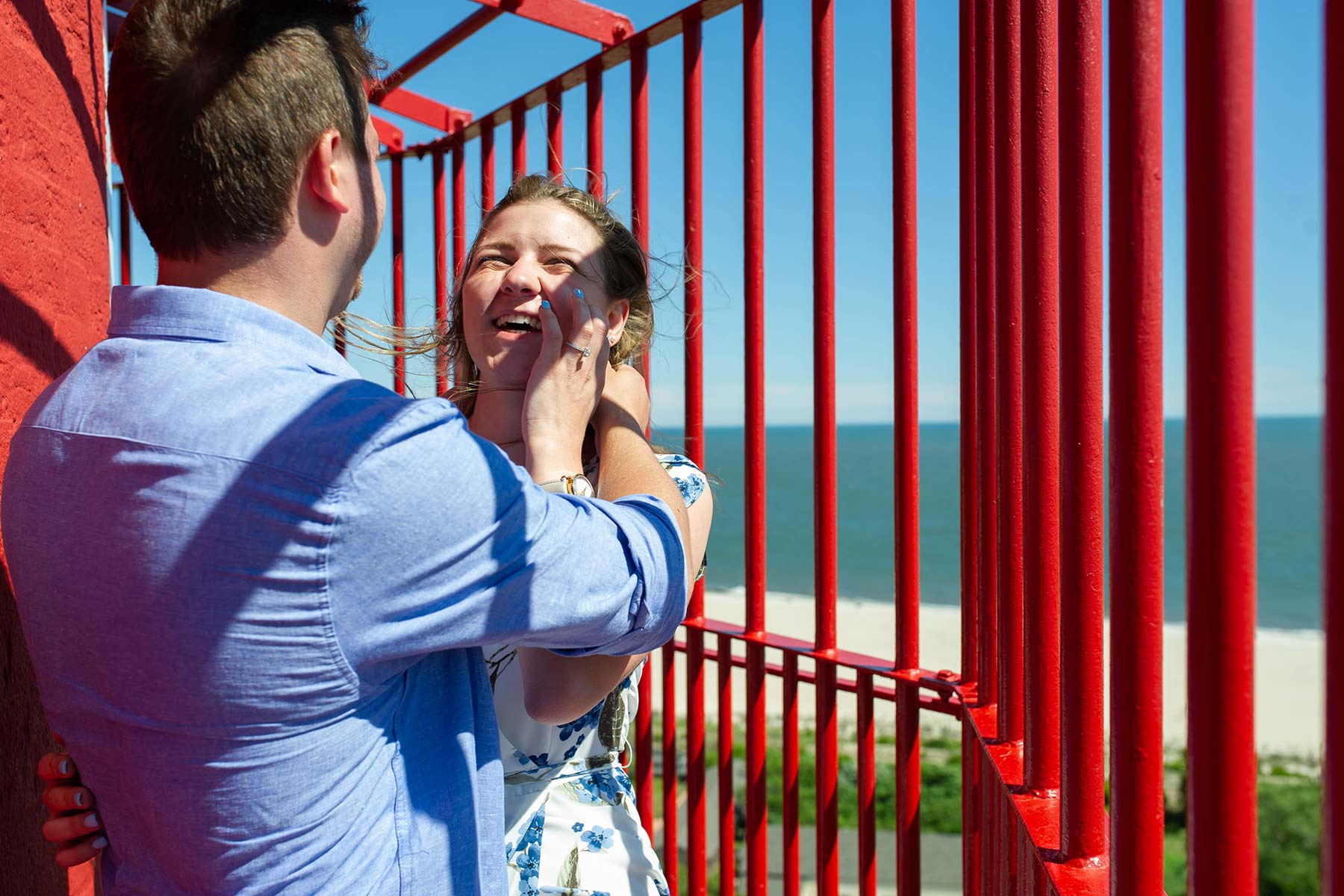 couple at the top of cape may lighthouse