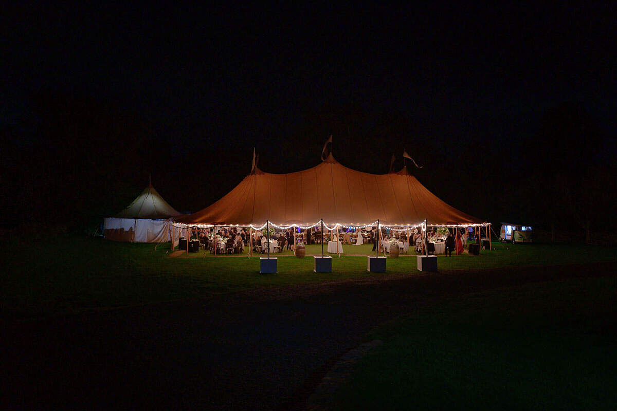 Night shot of the tent at Jonathan Edwards winery.