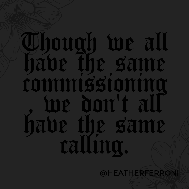 Though we all have the same commissioning, we don't all have the same calling.