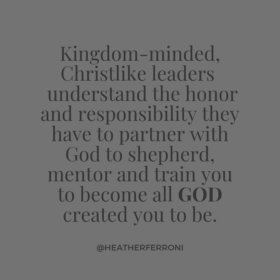 Gray on Gray (1).pngKingdom-minded, Christlike leaders  understand the honor and responsibility they have to partner with God to shepherd, mentor and train you to become all GOD created you to be.