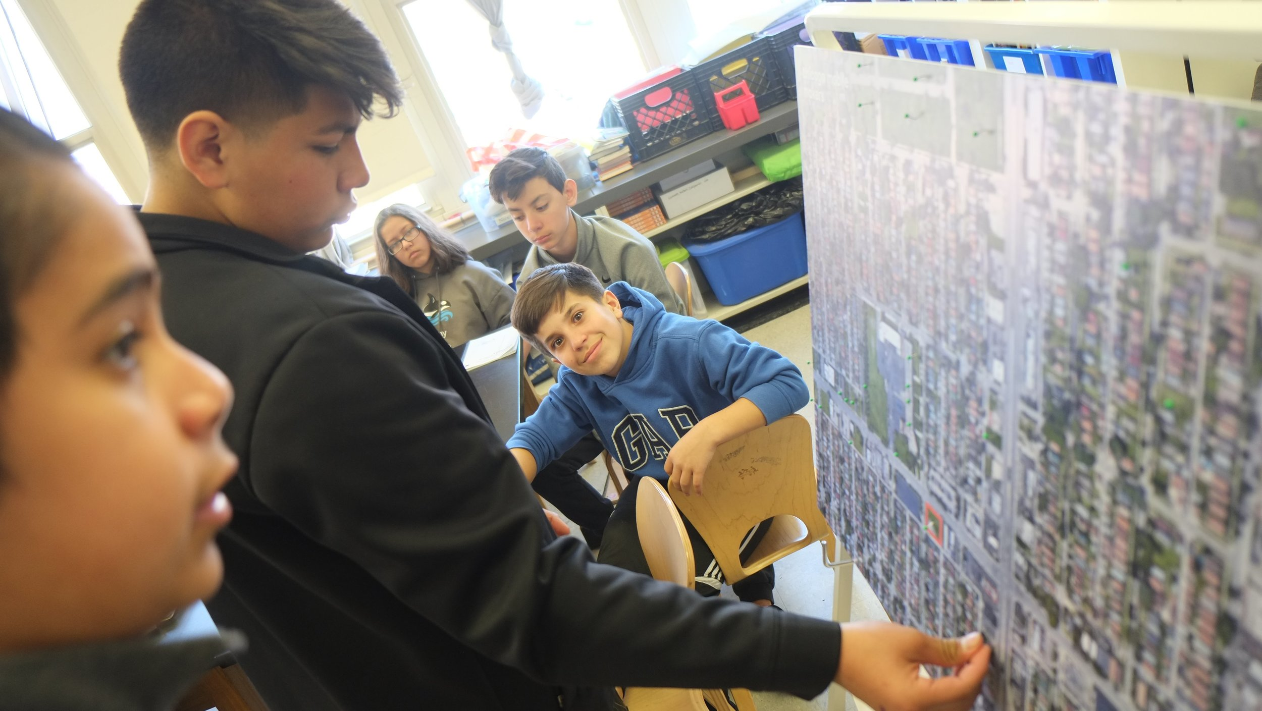 Students identify land uses in their neighborhood.