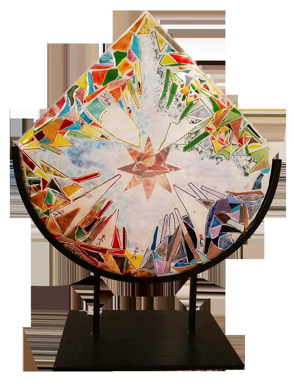 """Un'opera in vetro di Daniela Gilardoni   """"STAGIONI"""" vetrofusione con inserti di fotografica a fuoco. Supporto in ferro cm 60 x 70"""