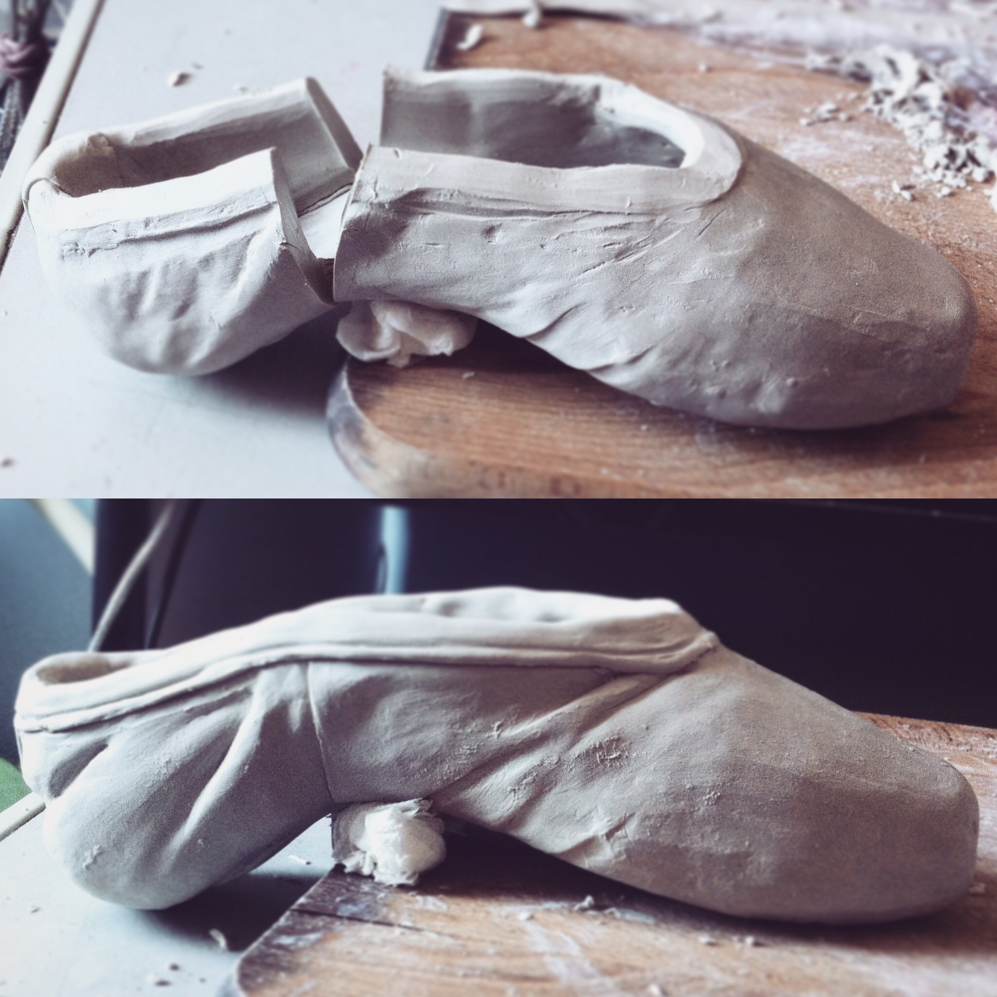 modelling ceramic ballet shoe WIP