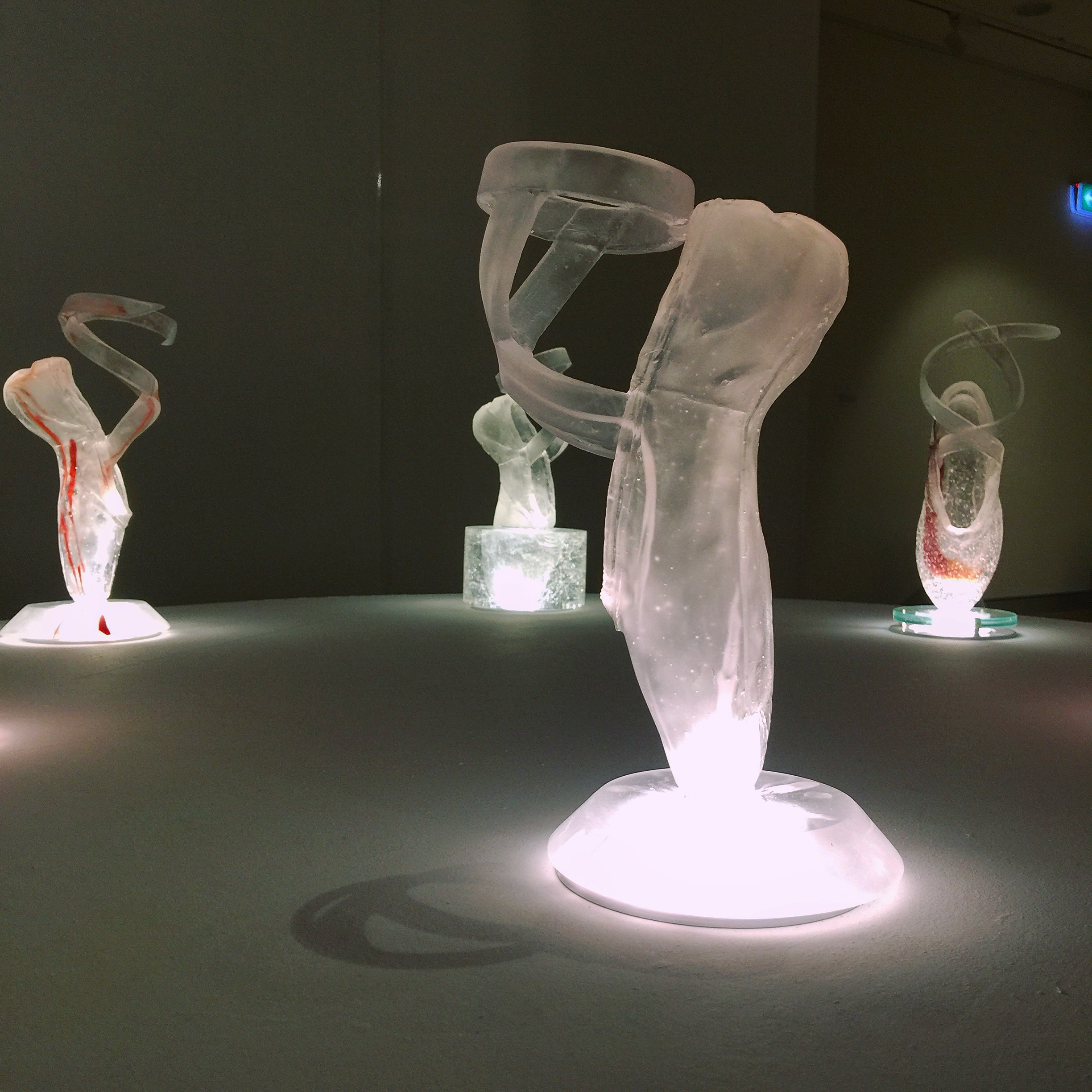 4 ballet dancers persistence glass pointe shoes sculpture installation
