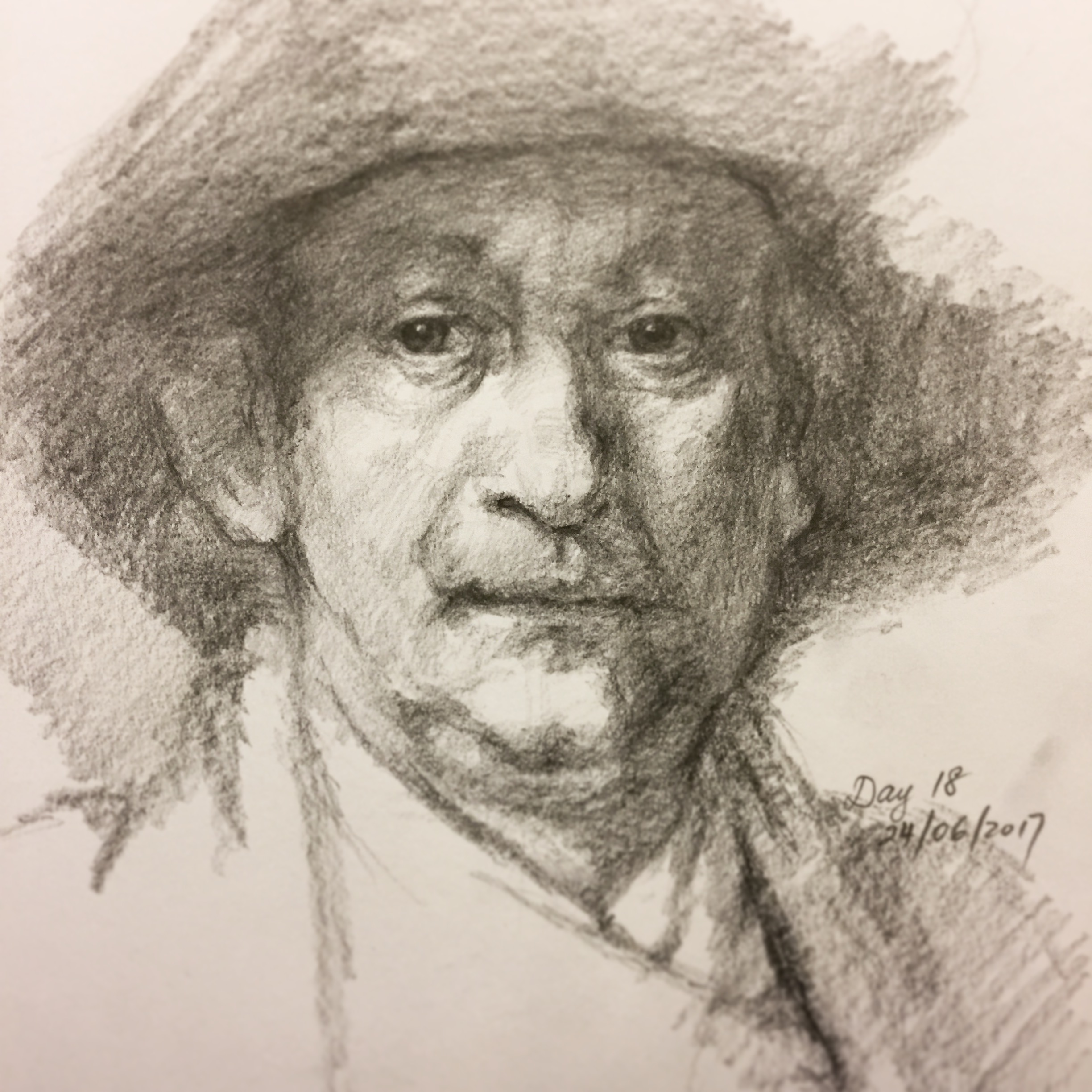 What I learnt from this sketch of Rembrandt was his use of tone treatment. He uses midtones everywhere in the face but the eyes are hauntingly dark. Self-portraits are a very special type of genre when it comes to painters, every time I've done one of myself in front of a mirror I always felt an answering touch on the part of my face that I'm putting onto paper.