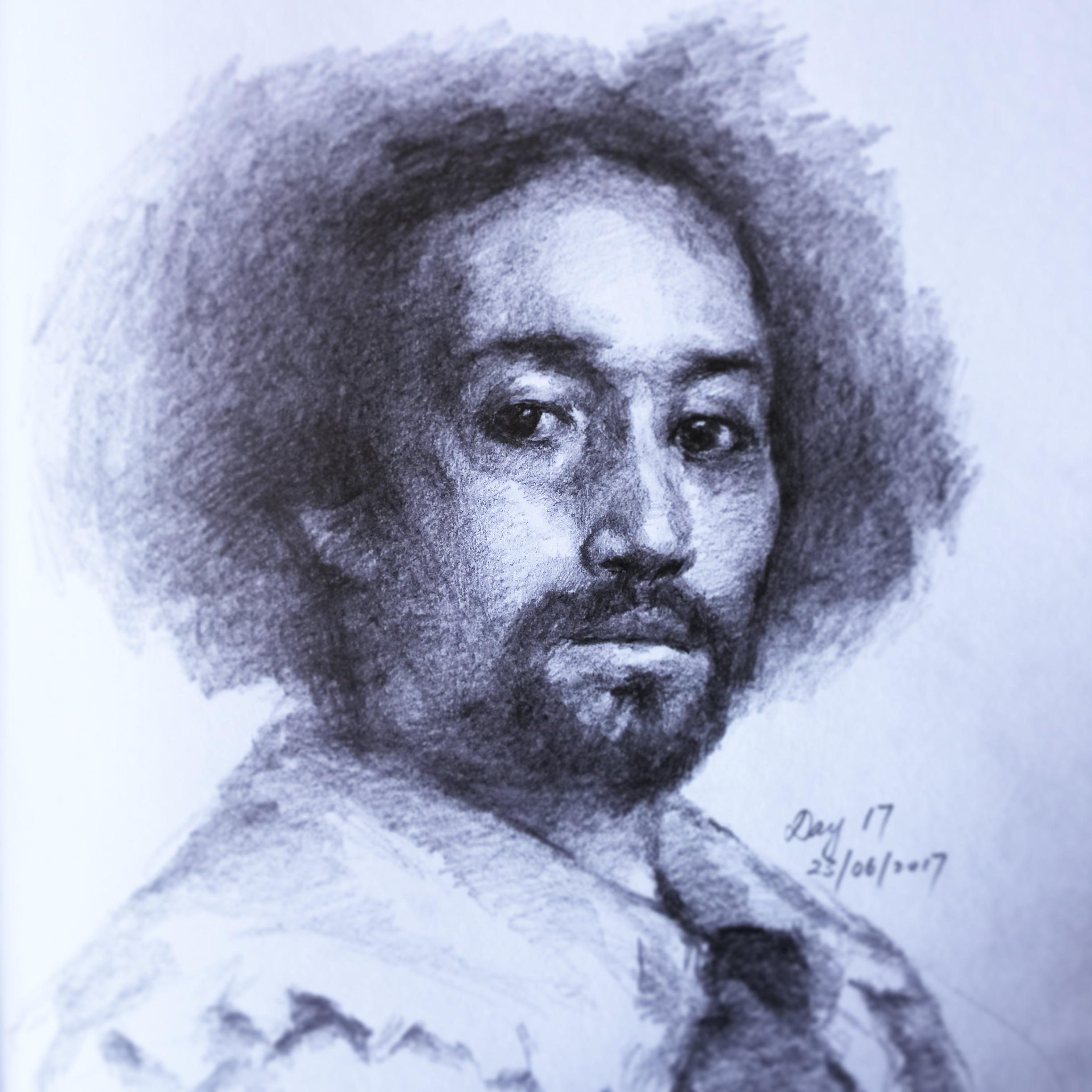 A sketch of Velázquez's  Juan de Pareja  part of my 100 Portraits series on my instagram. It's said that this was actually a practice painting of a slave he did before he did the commissioned portrait of the Pope, but what's fascinating about this portrait is how  n oble the subject looks. There is an internal  b earing about how the subject carries themselves that doesn't make him look like someone of lower social standing.
