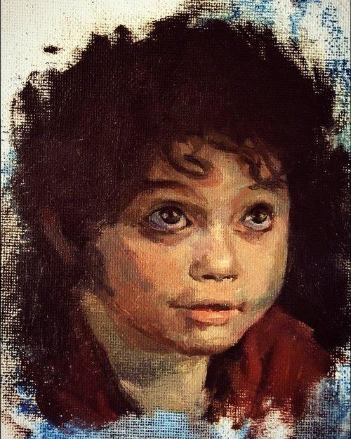 portrait painting of child hobbit