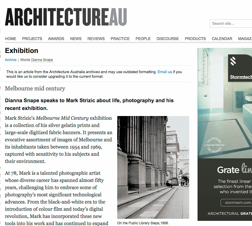 Architecture AU - Mark Strizic interview - Dianna Snape speaks to Mark Strizic about life, photography and his recent exhibition...
