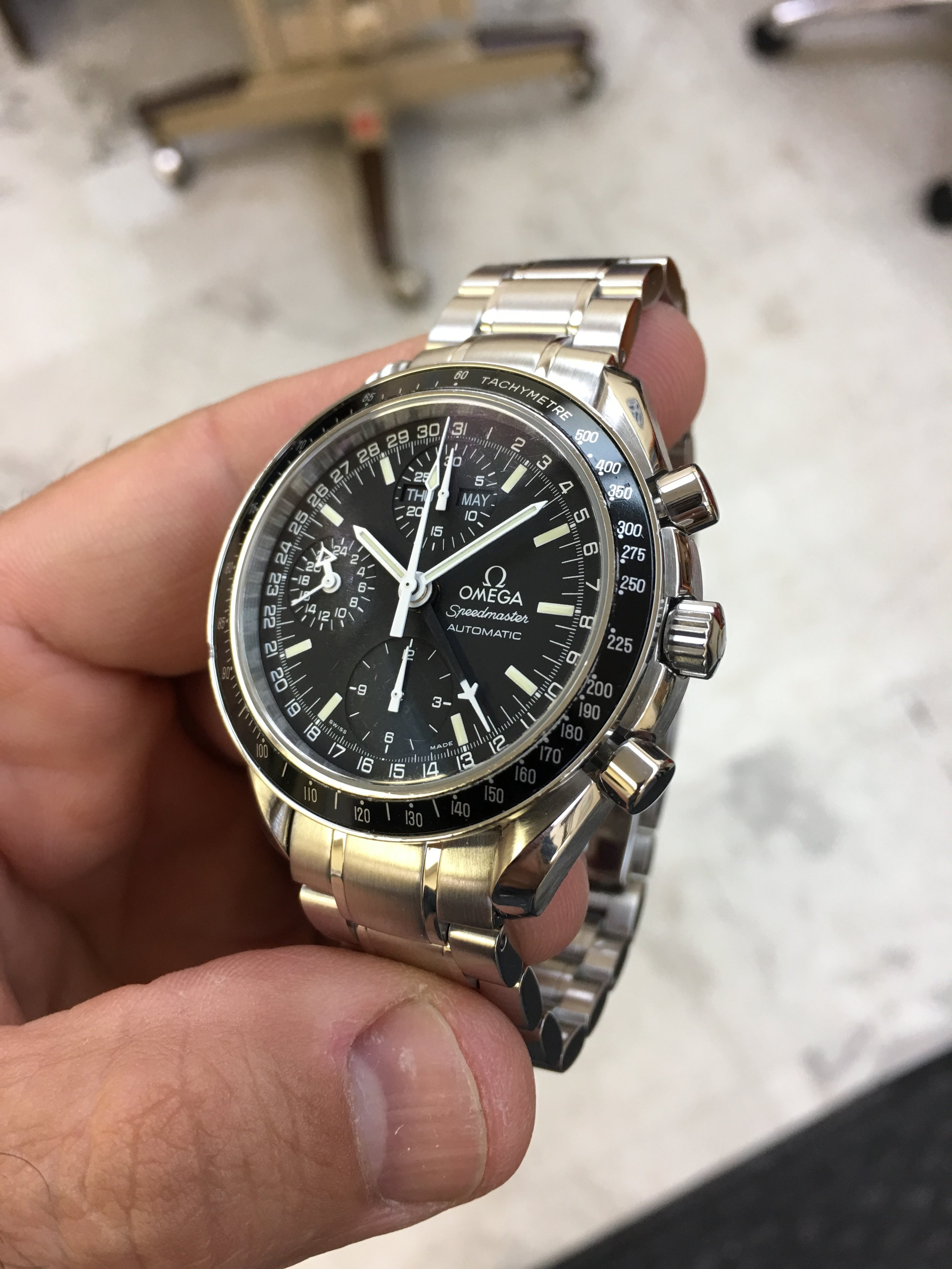 omega Speedmaster dial. Tampa jewelry store watch repair