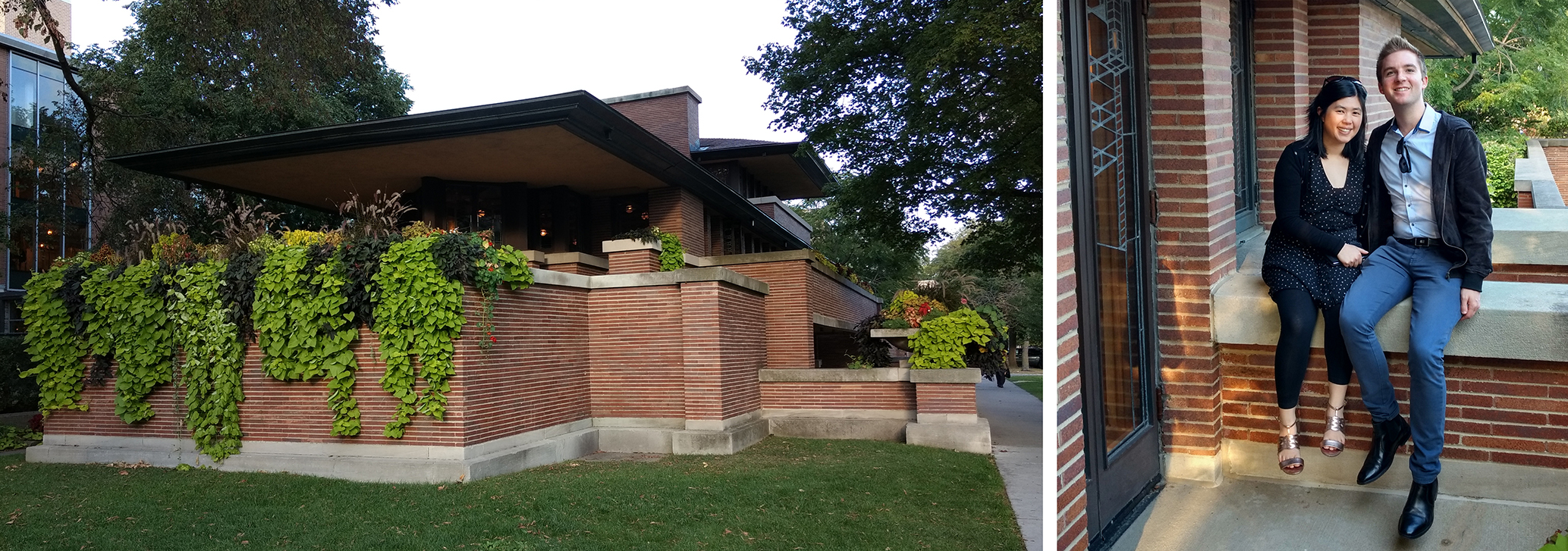 """Lachlan and Annie at the Robie House, IL -  """"Our tour group had a private cocktail evening at the Robie House. We were free to wander and explore the three-storey home""""."""
