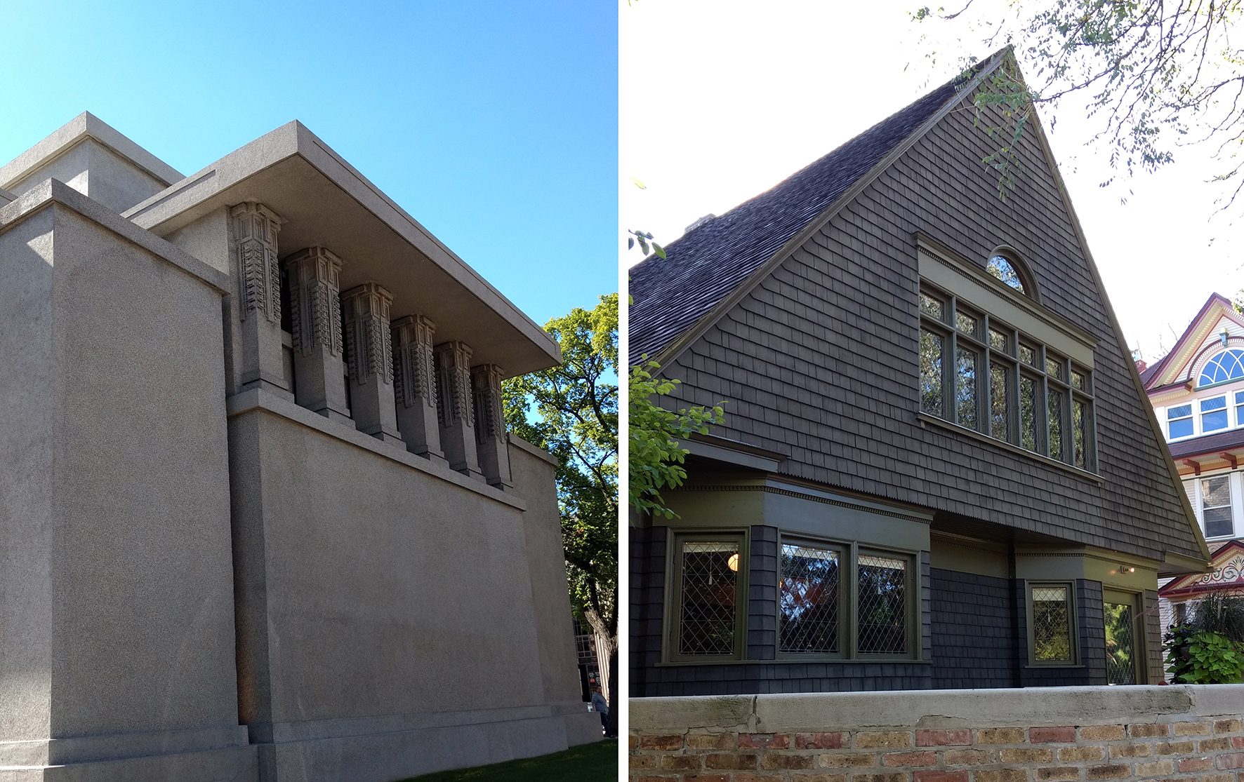 Frank Lloyd Wright works are prolific throughout Oak Park – the highlights being the iconic Unity Temple and his own home and studio (just a block away from each other)