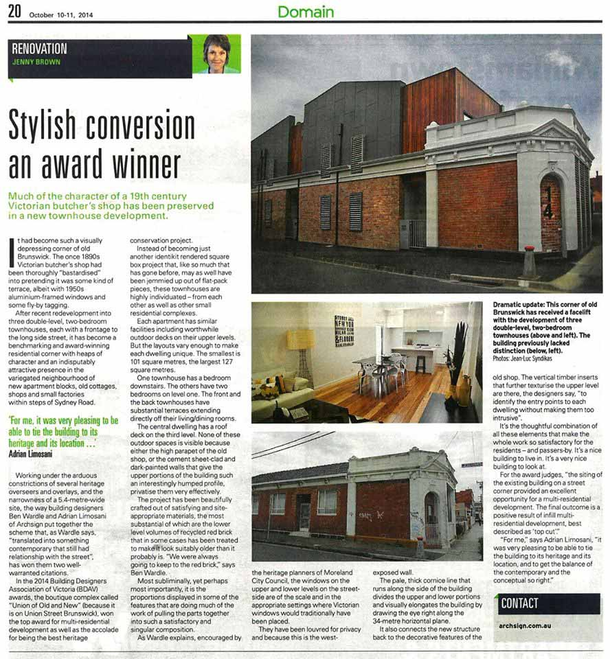 Herald Sun - Article 'Stylish conversion an award winner' By Jenny Brown 10/10/14.
