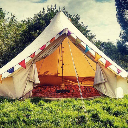 Glamping  - We are partnering with Loveabell to offer a sumptuous selection of bell tents for up to six people.  The tents will be ready for you when you arrive and taken down for you after you leave, so you don't have to life a finger.   There are a range of bedding, decor and size options to suit every budget and group. You can rent Kitchen equipment if you want to self cater.      Price start at £140 for the whole weekend.