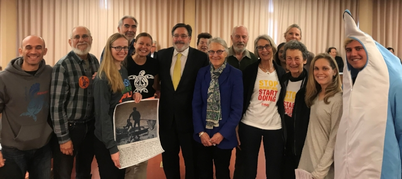 District Four Supervisor Dennis Rodoni and coastal advocates following the resolution by the Board of Supervisors to protect Marin's coastline from offshore oil and fracking. Jan 30, 2018 © Marin County