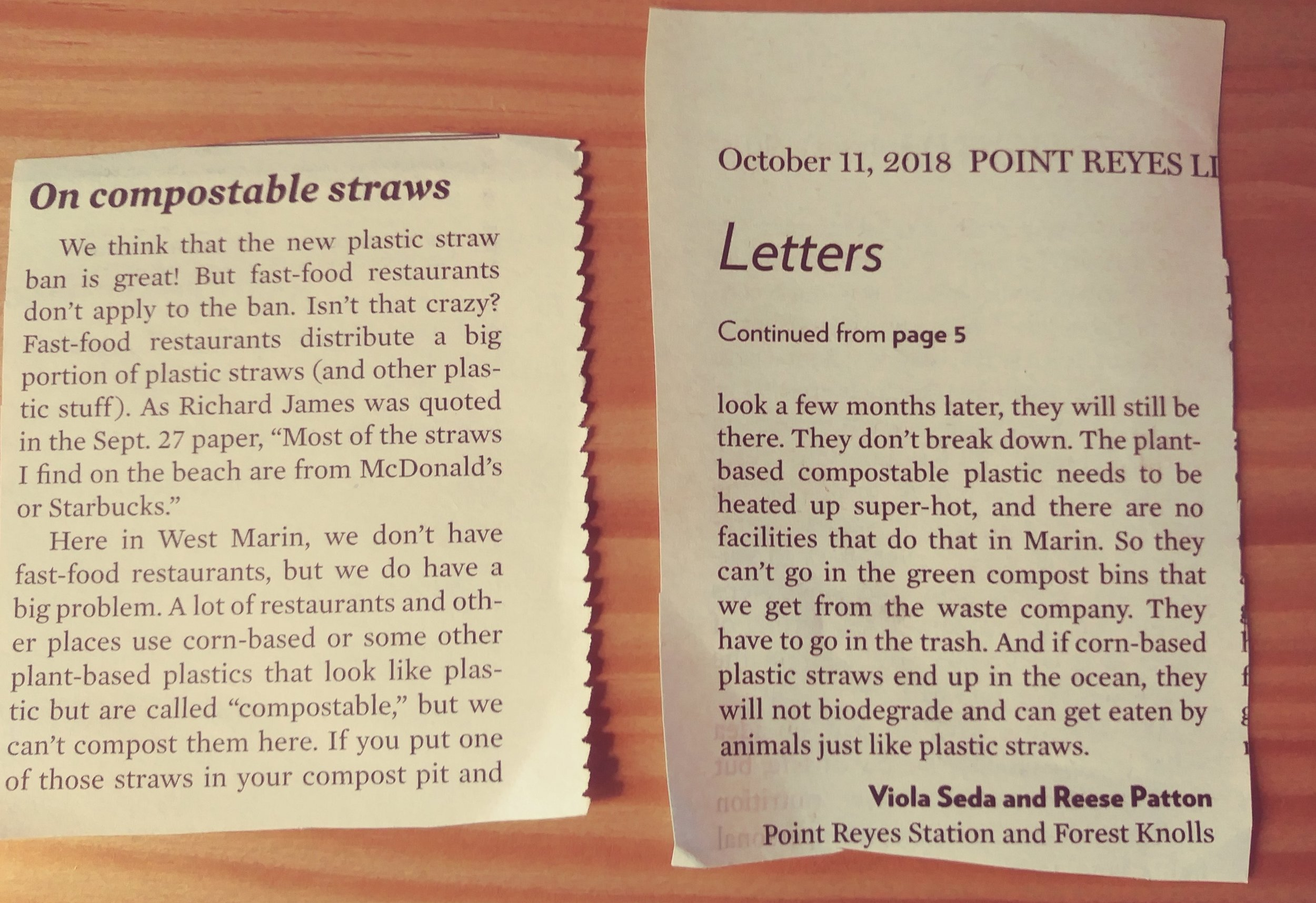 Our letter dated October 11, 2018 to the Point Reyes Light after September 2018 article re: West Marin ahead of straw ban with our concern about using plant-based compostables.