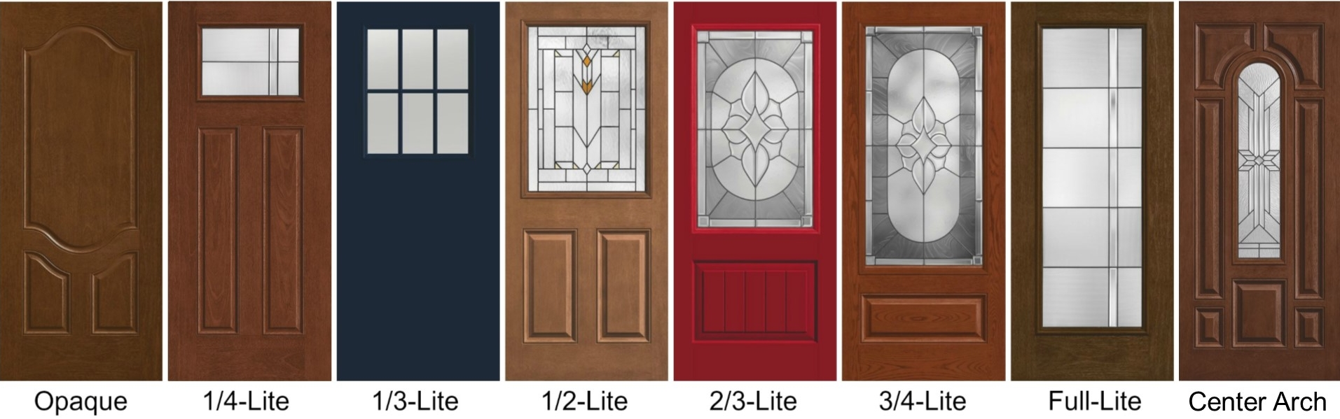 You can learn more about each of these different Therma-Tru door styles here:  Opaque ,  1/4-Lite ,  1/3-Lite ,  1/2-Lite ,  2/3-Lite ,  3/4-Lite ,  Full-Lite , and  Center Arch .