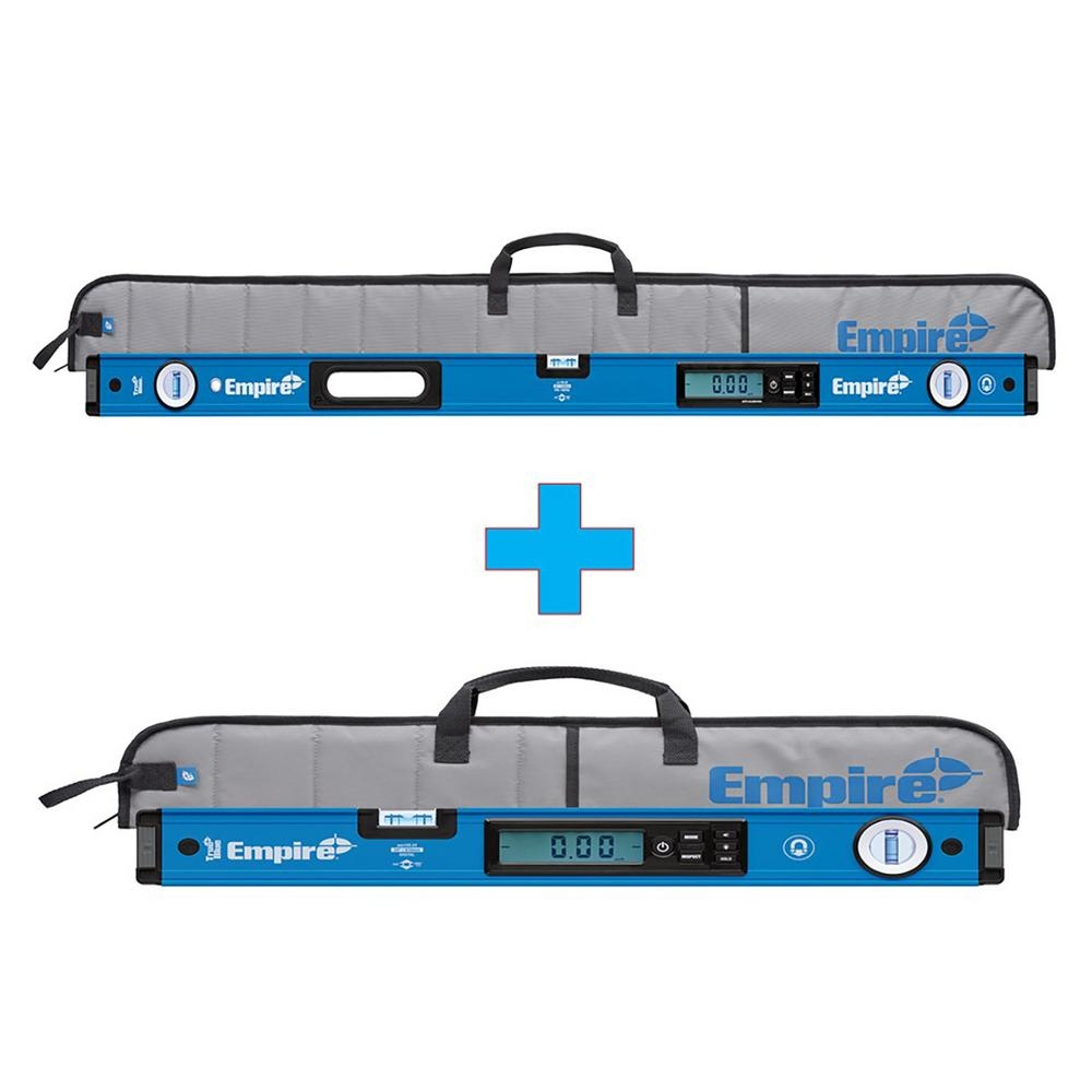 1. Magnetic Digital Level - Empire 48 in. True Blue Magnetic Digital Box Level with Case with Free 24 in. True Blue Magnetic Digital Box Level with CaseAvailable at The Home Depot for $159