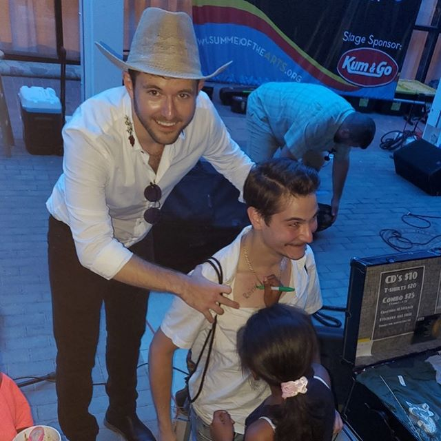 We had a great time at the Friday Night Concert Series! Tonight Blake joked with the crowd that they could autograph Alex's chest. These two waited till the end of the show to politely ask if they could. How do you say no to that?!