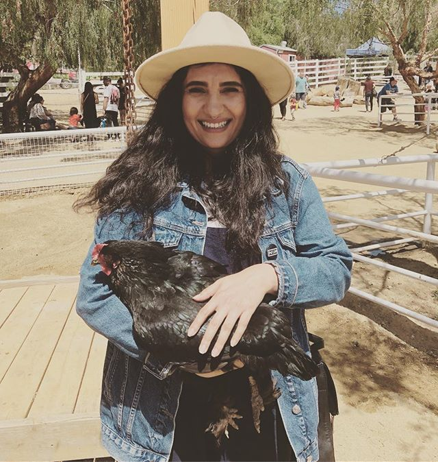 Rebecca the chicken and moi @thegentlebarn