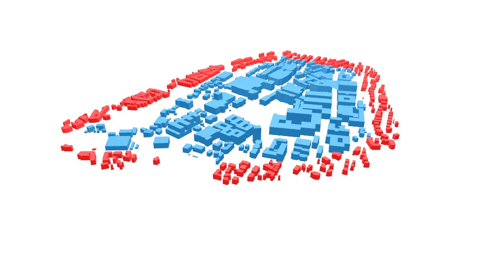 Blue: Zone of analysis in CEA, Red (RESULT): District or geometry of surrounding buildings in CEA
