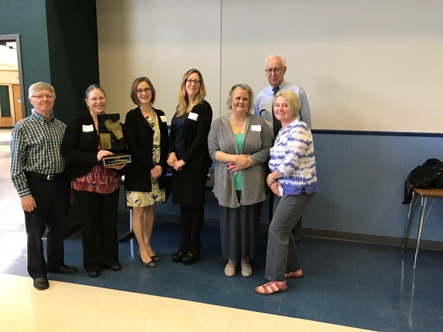 Pictured (left to write: Bill Halliar, co-chair of the World Creativity and Innovation Week 2017 committee; Pam Okuson and Stephanie Murphy from the La Porte County Public Library; Karen Jedrysek, Spark Labs volunteer; Kristi Chadderdon, La Porte County Public Library; and Earl Adams, Spark Labs volunteer; and Keri Marrs-Barron, co-chair of the World Creativity and Innovation Week 2017.