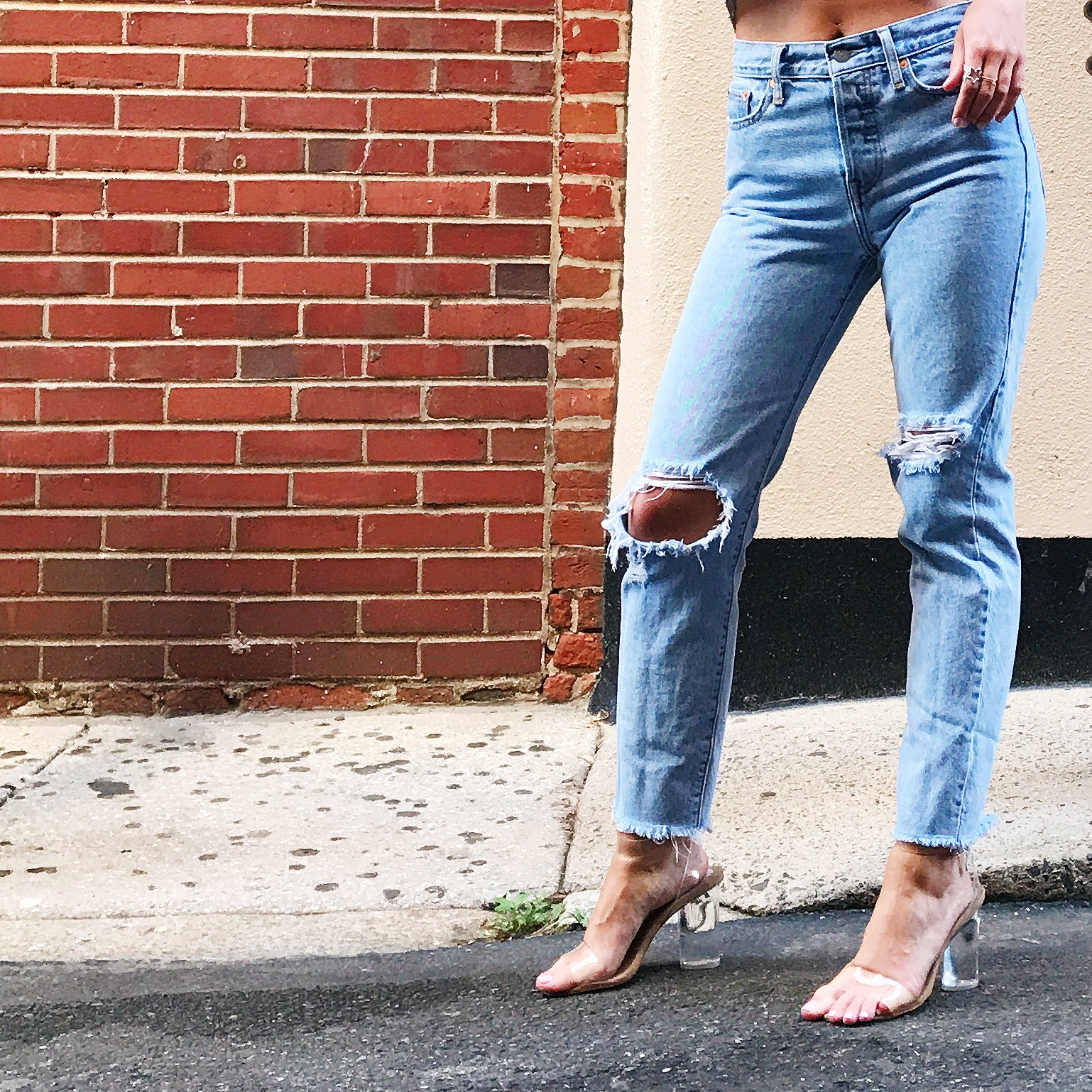 Jeffrey Campbell Glass Slippers via Free People       //        Levi's Wedgie Fit Jeans