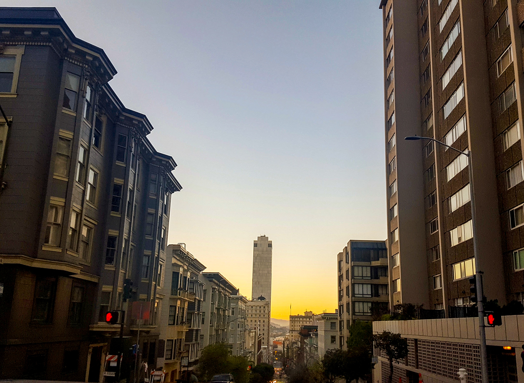 View from Pine Street in Nob Hill, at 6:45 AM.