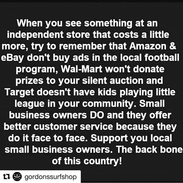 This is very true. Support small businesses. Shop local. #surfpunkcoffee #surfpunk #coffee #surf #skate #wakeskate #wakesurf #skimboarding #bodysurfing #bodyboard #kayak #paddleordie #bmx #coffeetime #coffeeporn #coffeemug #diy #roaster #smallbusiness #coffeeroaster #tybeeisland #georgia #supportsmallbusiness #shopsmall #shoplocal