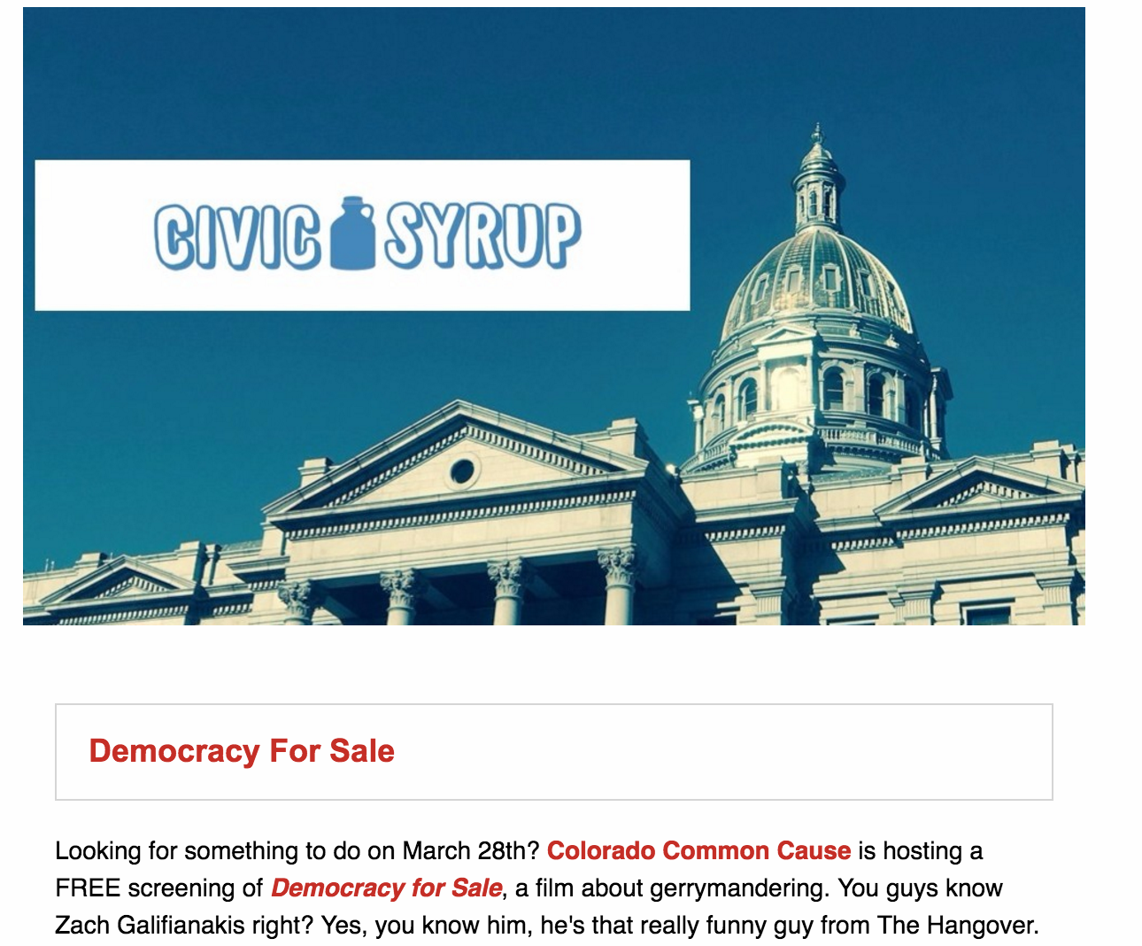 Hey there civic friends! Scroll down to sign up for our weekly newsletter. - It looks a little like this and will give you great engagement tools for the week!