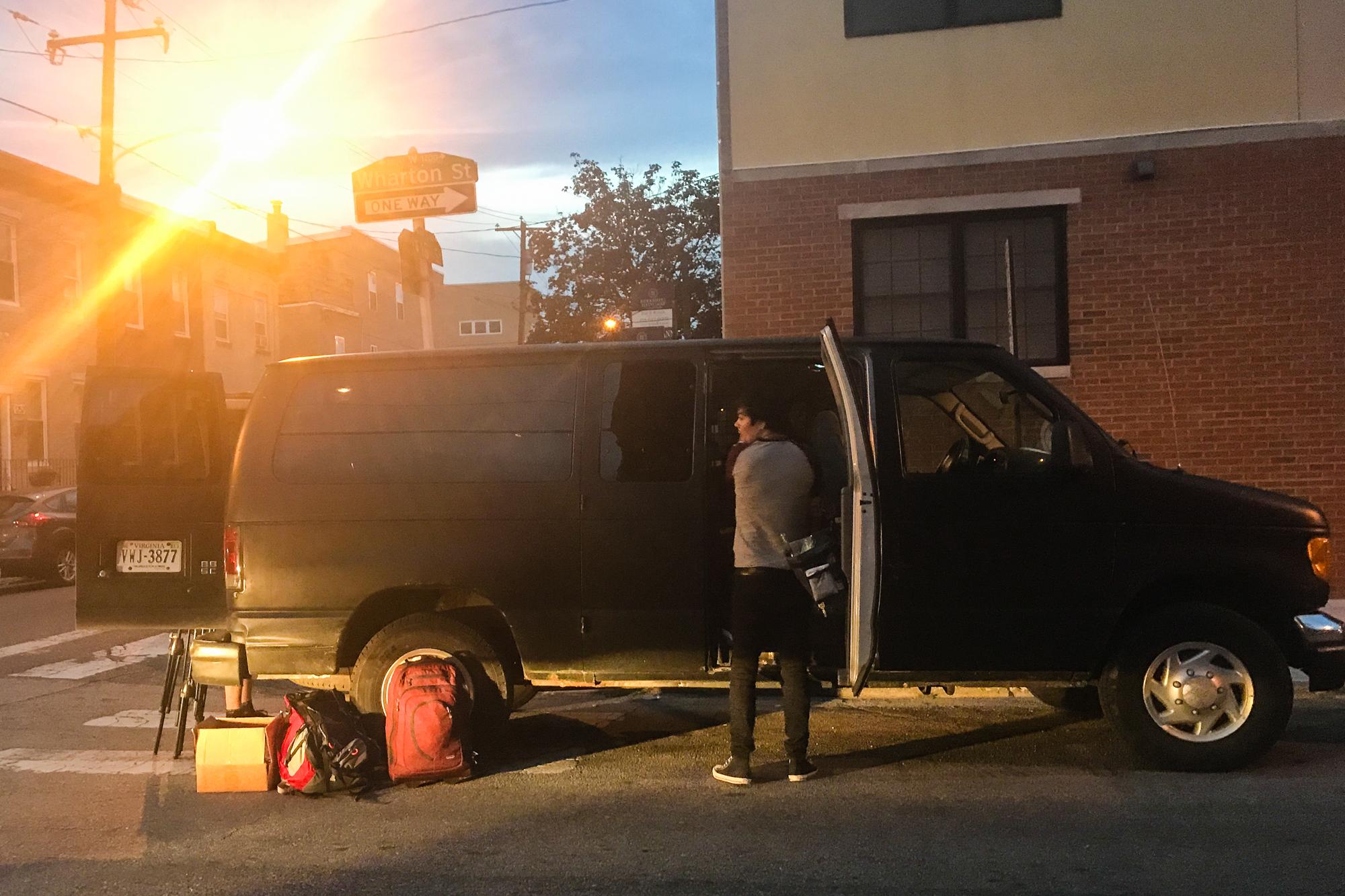 Alex Gruenburg unloading the van in Philadelphia.