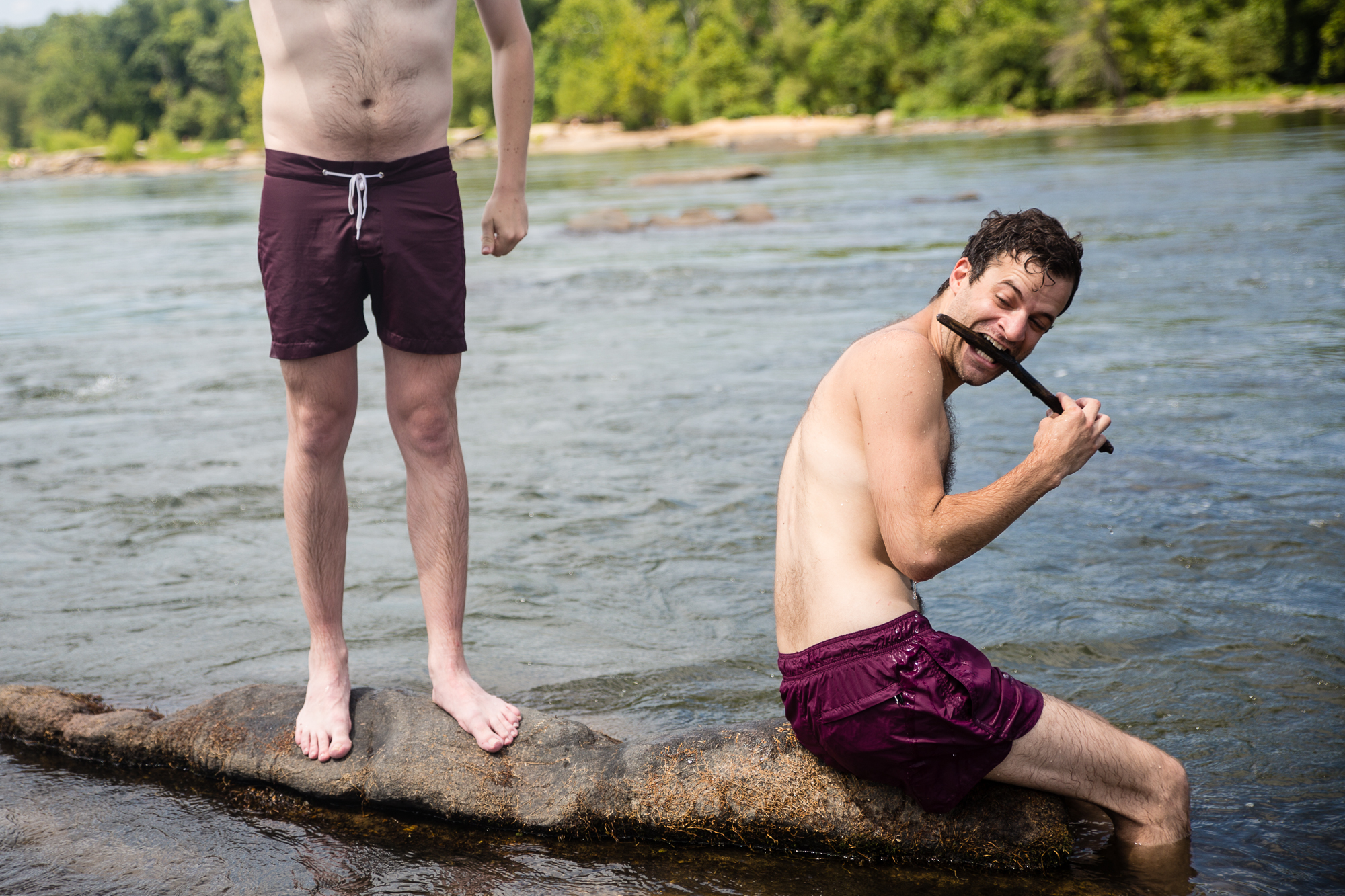Jon Mann channels his inner animal at the James River in Richmond.