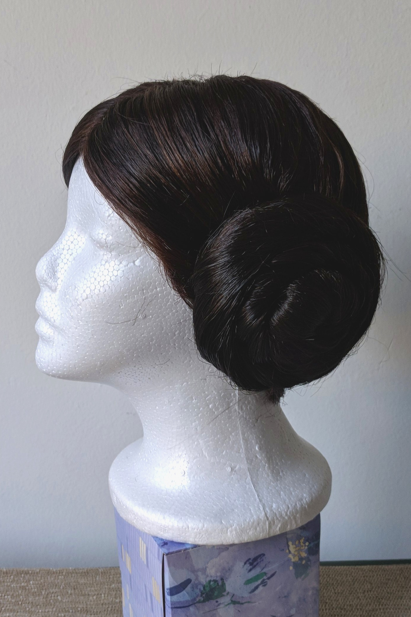 Princess Leia Wig, 2018  Commissioned by: Juli Miller  Synthetic wig styled into 2 sections with extensions sewn in to create buns