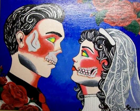 Zombie Love,  2009  Acrylic on canvas board