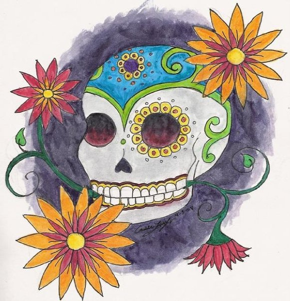 Day of the Dead Skull 2, 2008  Watercolor on paper