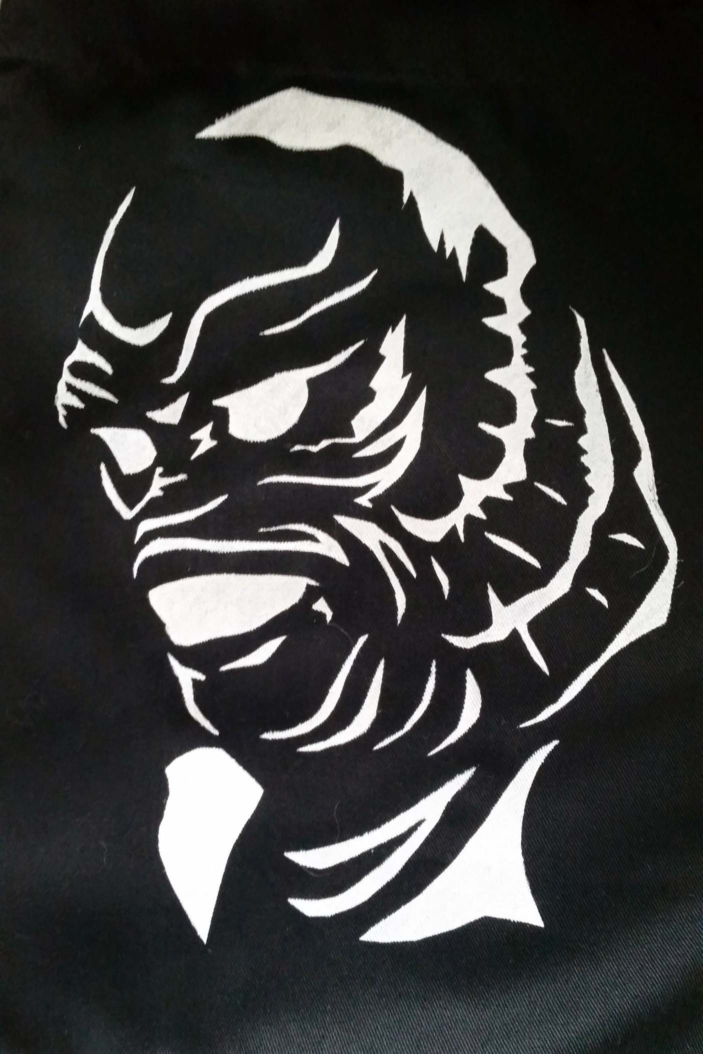 Creature, 2015  Stencil, acrylic on canvas apron