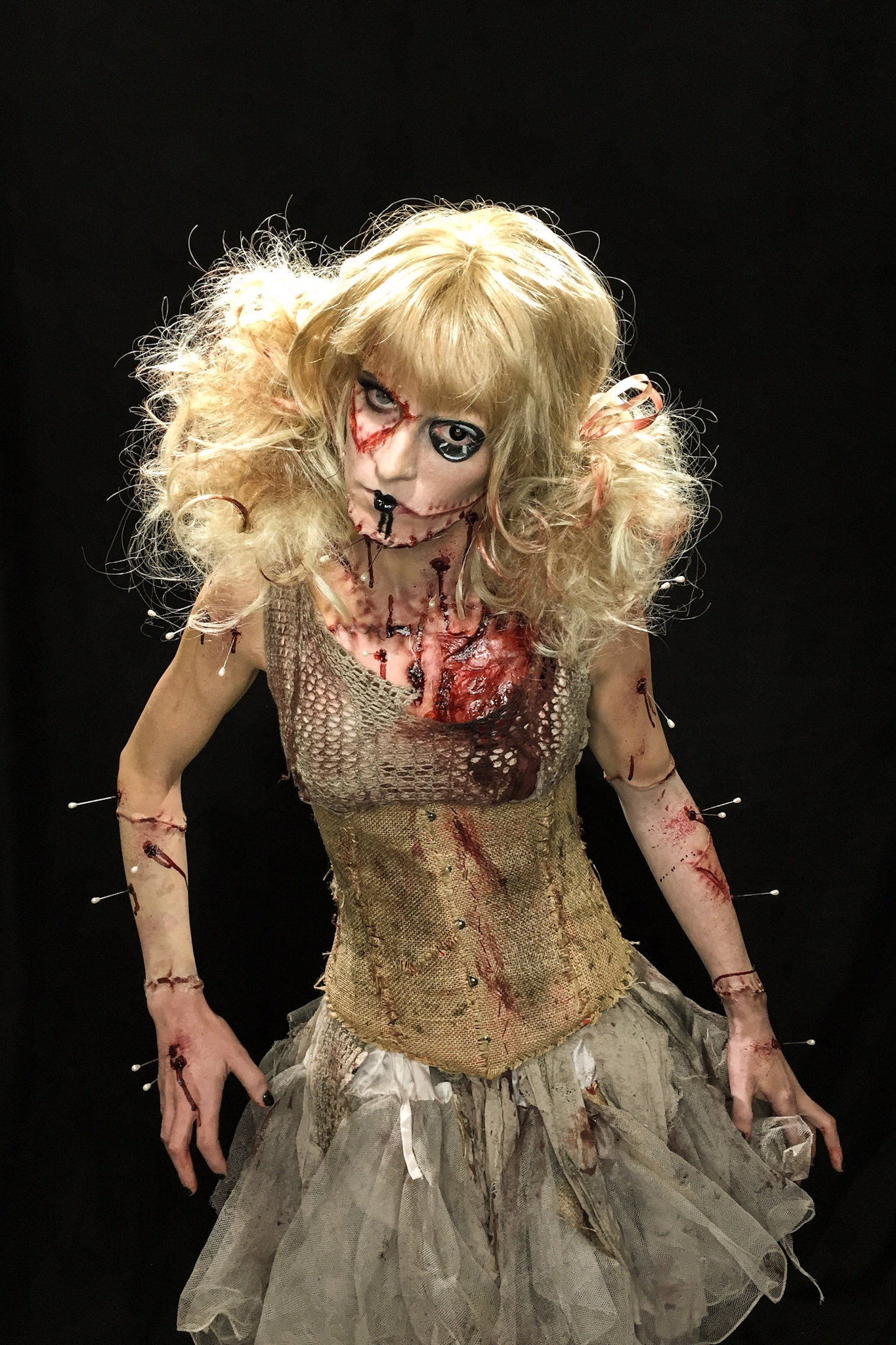 Monsterpalooza, 2016  Frends Beauty Supply Demo  Makeup Artist: Chloe Sens  Dress purchased and distressed,. Corset base purchased, burlap added on top, and distressed