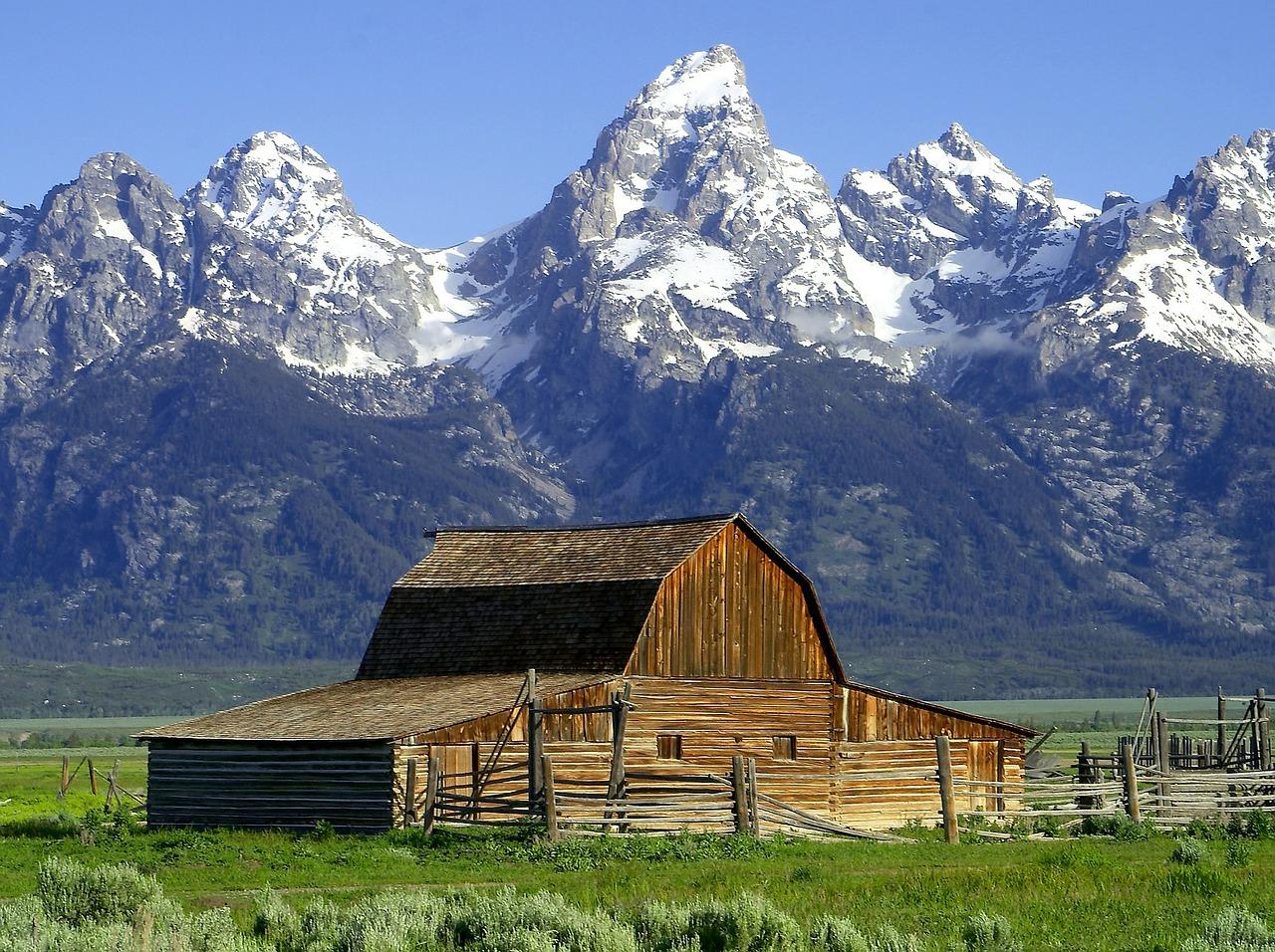 The T. A. Molton Barn below the Teton Range in Grand Teton National Park, WY.