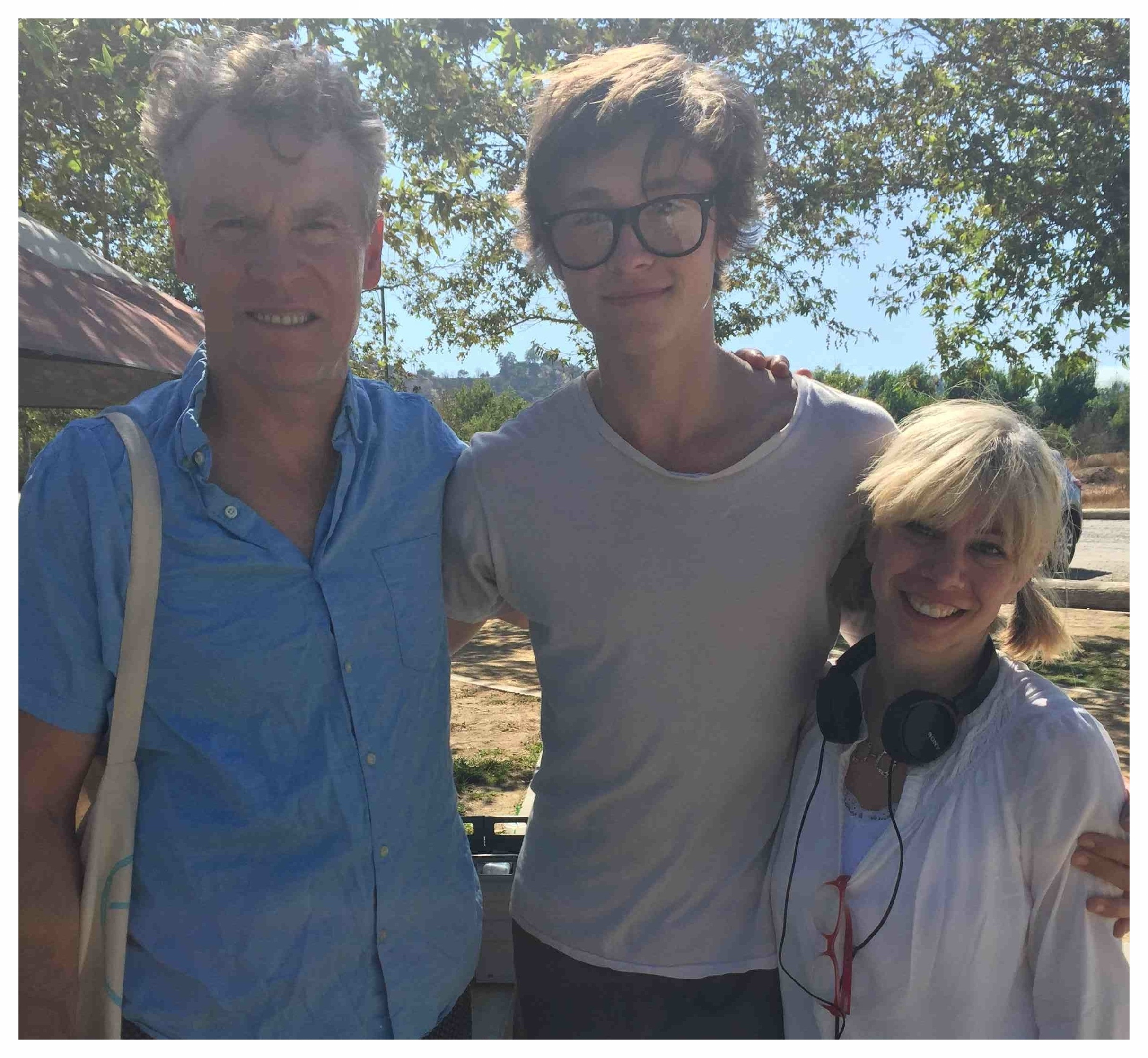 On the set of  Crowbar Smile  with the very talented, and very tall Tate Donovan and Tristan Lake Leabu.